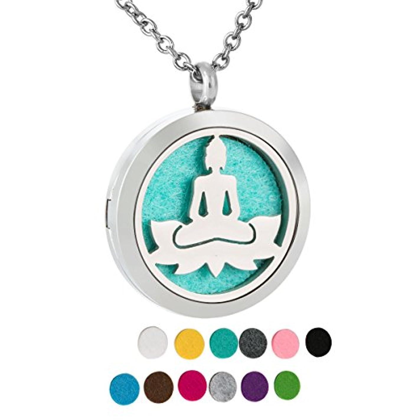 スロー観点すべきZARABE Aromatherapy Essential Oil Diffuser necklace-lotusロケットペンダント、12 pcカラフルRefill Pads