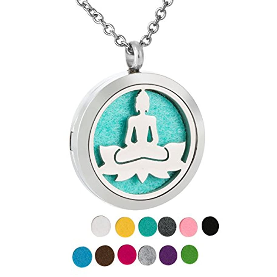 侵略ブランド名氷ZARABE Aromatherapy Essential Oil Diffuser necklace-lotusロケットペンダント、12 pcカラフルRefill Pads