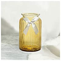 花瓶 農村地中海DIYクリエイティブヘンプカラー透明ガラス花瓶ホームデコレーションリビングルームデスク装飾スリーピースセットリボン 花器 (Color : C)