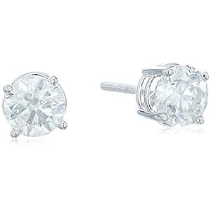 [アマゾンコレクション] Amazon Collection 14金ホワイトゴールド スクリューバックポスト付 ダイヤモンド スタッドピアス(1.25ct J-Kカラー,I2-I3クラリティ) ERBWG-125-OBS