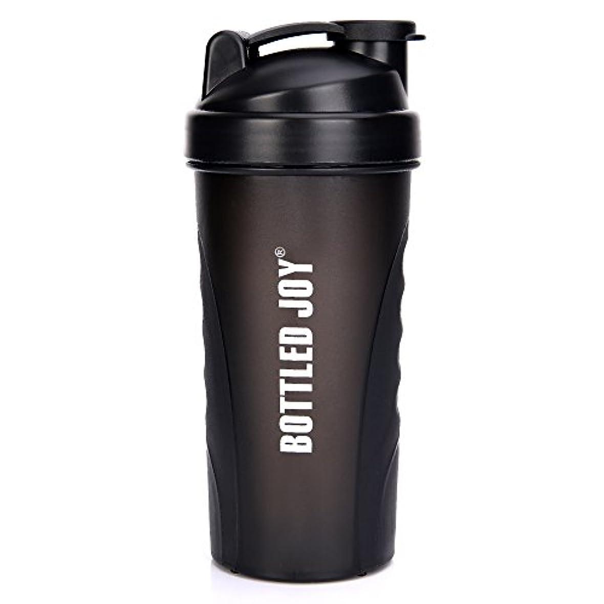 今日日常的に袋BOTTLED JOY プロテインシェイカーボトル グリップ 漏れ防止 スポーツミキサー スポーツ 栄養サプリメント ミックスシェイクボトル すべり止め 27オンス 800ml ブラック