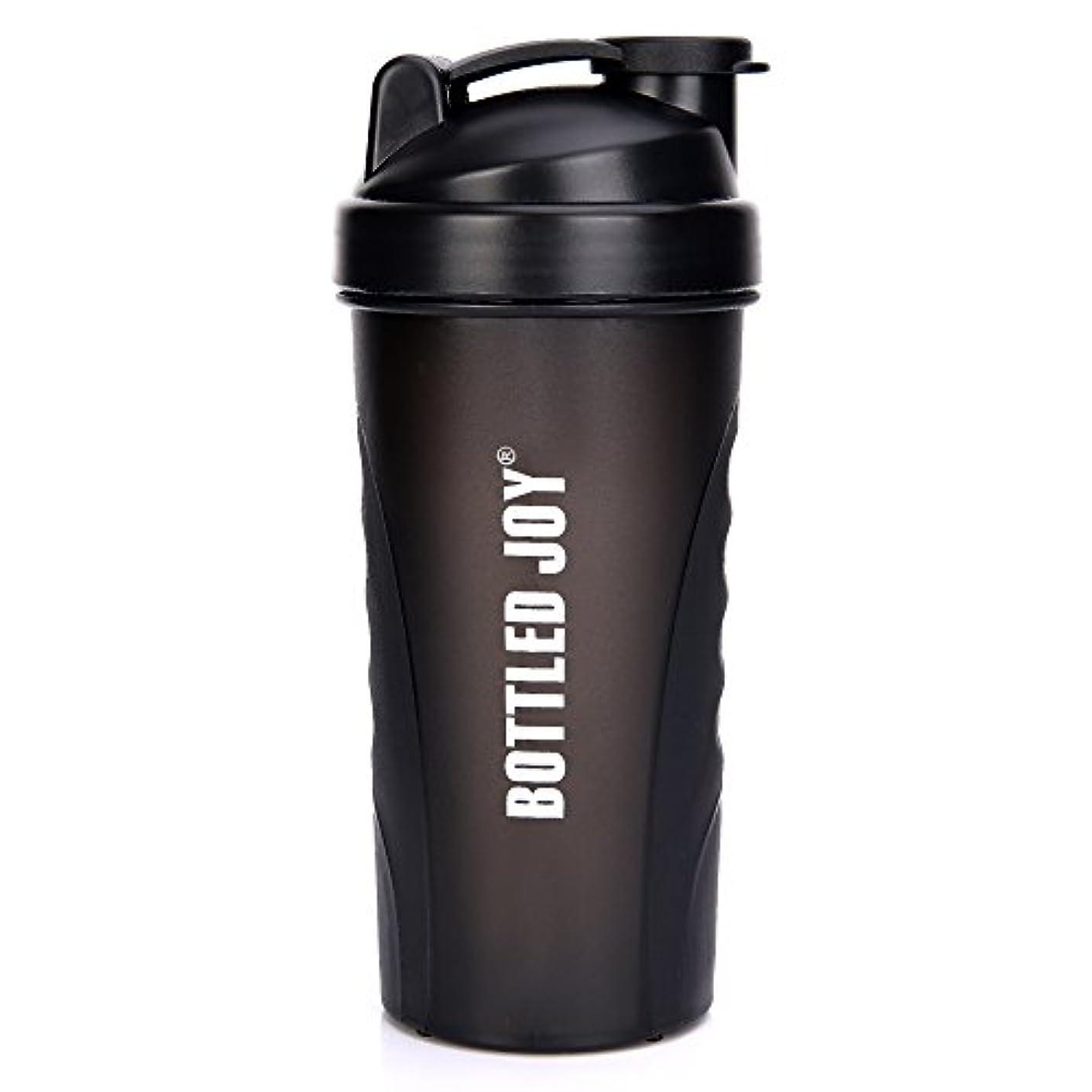 スマイル表現第二BOTTLED JOY プロテインシェイカーボトル グリップ 漏れ防止 スポーツミキサー スポーツ 栄養サプリメント ミックスシェイクボトル すべり止め 27オンス 800ml ブラック