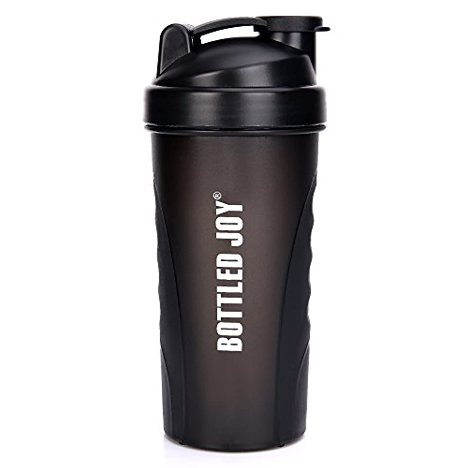 硬さ白い完璧なBOTTLED JOY プロテインシェイカーボトル グリップ 漏れ防止 スポーツミキサー スポーツ 栄養サプリメント ミックスシェイクボトル すべり止め 27オンス 800ml ブラック