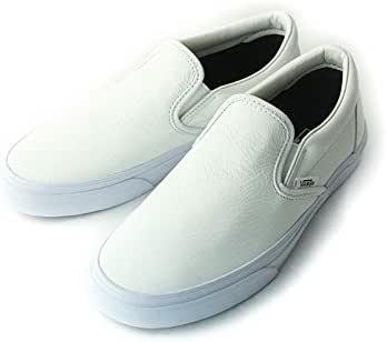 [ザ マテリアル ワールド] VANSヴァンズ バンズCLASSIC SLIP ONクラシックスリッポン (CRACKLE) BLNCDEBLNC/LTHR (クラックルレザー ホワイト) レディース メンズ シューズ 靴 白 革