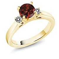 Gem Stone King 1.20カラット 天然 ガーネット 天然 ダイヤモンド シルバー925 イエローゴールドコーティング 指輪 リング