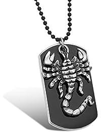 JewelryWe メンズ ネックレス, ペンダント トップ ヘッド ゴシック サソリ スコー ドッグタグ,合金, ブラック; シルバー