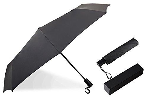 折り畳み傘 ビジネス ワンタッチ自動開閉傘 頑丈な8本骨 120cm 耐強風 晴雨兼用 軽量 収納ポーチ付き ロシア米国ドイツ特許 (ブラック)