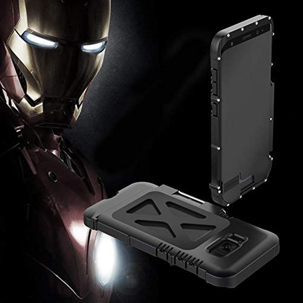 神秘眼発揮するTonglilili 携帯電話ケース、サムスンS5、S6、S6エッジ、S6エッジプラス、S7、S7エッジ、S8、S8、S9、S9用ブラケット落下防止クリエイティブスリーインワンメタルフリップアイアンマン保護携帯電話シェルホーンケースプラス (Color : 黒, Edition : S7 Edge)