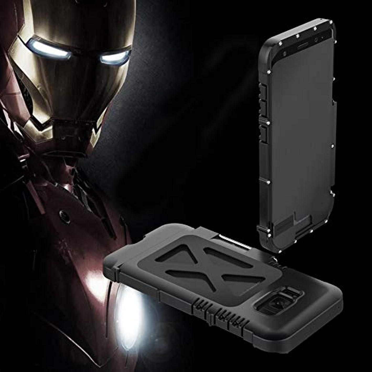 キノコスタック収束Tonglilili 携帯電話ケース、サムスンS5、S6、S6エッジ、S6エッジプラス、S7、S7エッジ、S8、S8、S9、S9用ブラケット落下防止クリエイティブスリーインワンメタルフリップアイアンマン保護携帯電話シェルホーンケースプラス (Color : 黒, Edition : S7)