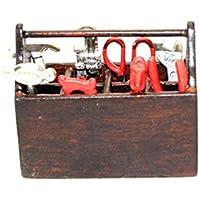 1 : 12ドールハウスミニチュアおもちゃ8-pcメタル家庭用ツールセットW :木製ボックス