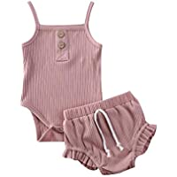 Newborn Baby Outfits,Ribbed Knitted Cotton Sleeveless Solid Color Romper+ Ruffle Shorts Two Piece Summer Clothes Set