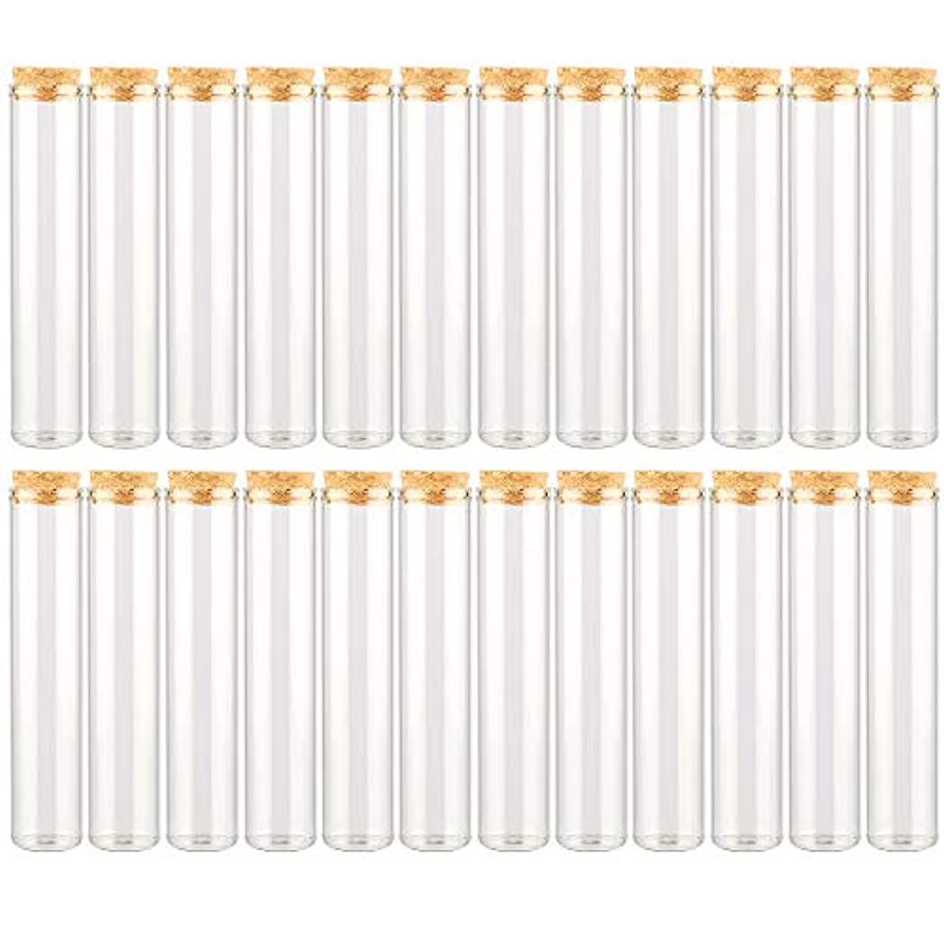 の尽きるカウンターパートEC Labmouse シンプル ガラス瓶 コルク栓 24本セット 30ml 透明 ガラス製 アロマオイル 香水 花材 ビーズ 調味料 試験管 (30ml 24本)
