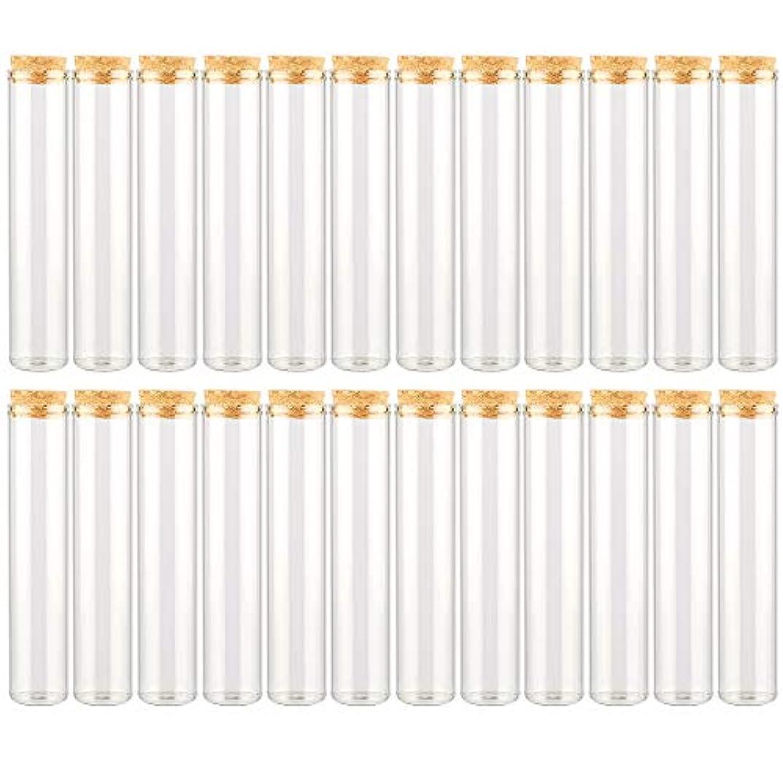 放牧する寄稿者狐EC Labmouse シンプル ガラス瓶 コルク栓 24本セット 30ml 透明 ガラス製 アロマオイル 香水 花材 ビーズ 調味料 試験管 (30ml 24本)