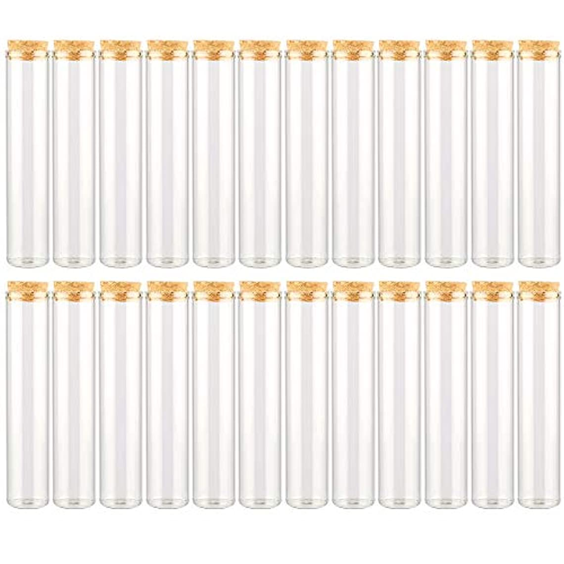 翻訳者抽出縁EC Labmouse シンプル ガラス瓶 コルク栓 24本セット 30ml 透明 ガラス製 アロマオイル 香水 花材 ビーズ 調味料 試験管 (30ml 24本)