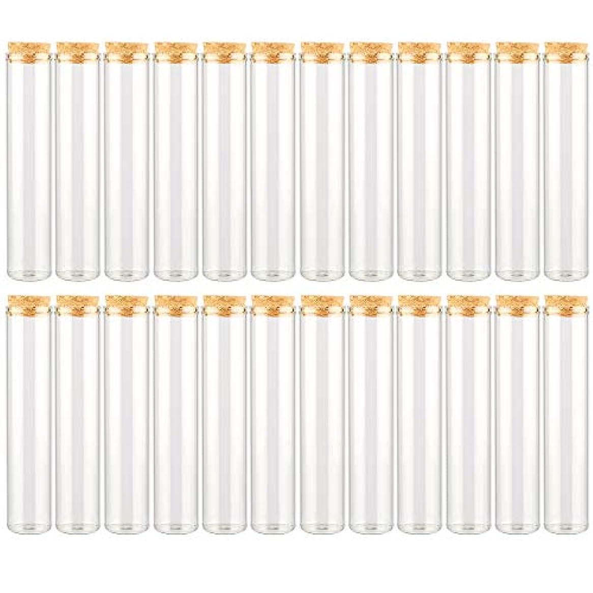 フライト覆す侵入するEC Labmouse シンプル ガラス瓶 コルク栓 24本セット 30ml 透明 ガラス製 アロマオイル 香水 花材 ビーズ 調味料 試験管 (30ml 24本)