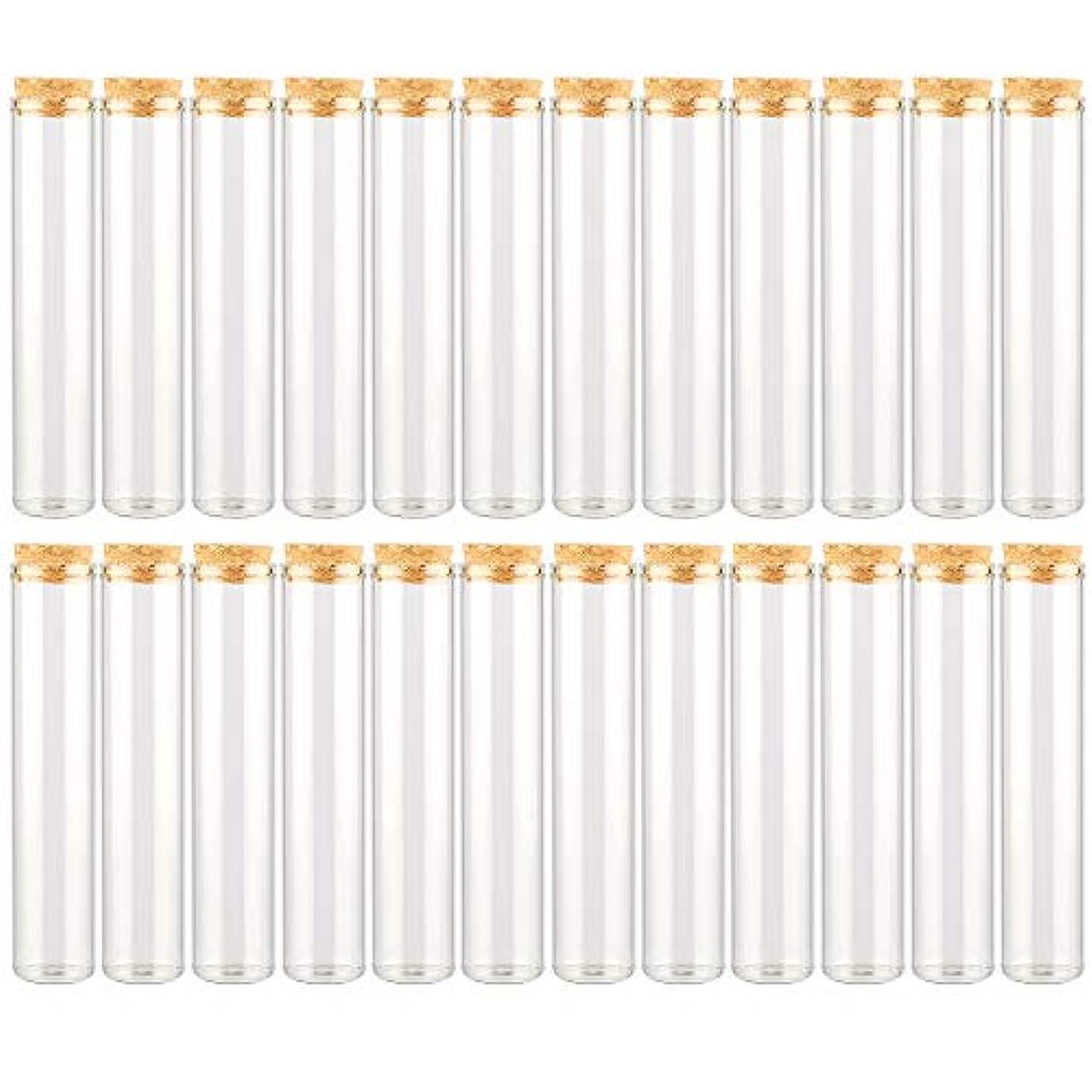 舞い上がる香り着実にEC Labmouse シンプル ガラス瓶 コルク栓 24本セット 30ml 透明 ガラス製 アロマオイル 香水 花材 ビーズ 調味料 試験管 (30ml 24本)