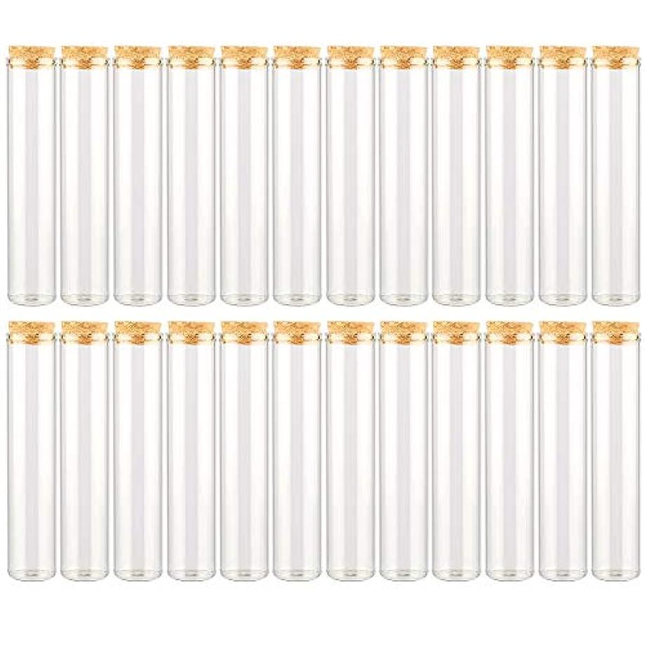 間接的タイムリーな瞑想するEC Labmouse シンプル ガラス瓶 コルク栓 24本セット 30ml 透明 ガラス製 アロマオイル 香水 花材 ビーズ 調味料 試験管 (30ml 24本)