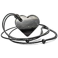 Wallystone Gems Shungite Pendant Heart EMF Protection, Energy Stone, Chakra Balance