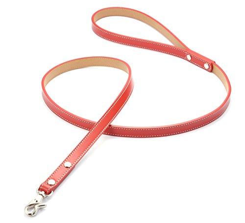 犬 リード 本革製(レザー) 小型犬 中型犬 オレンジ・赤・青・黄の4色 お揃いの首輪もございます カラー:赤