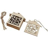 Fenteer 10個 木製吊り装飾 多目的 DIY ハンガー タグ カード作成 装飾 美術工芸プロジェクト
