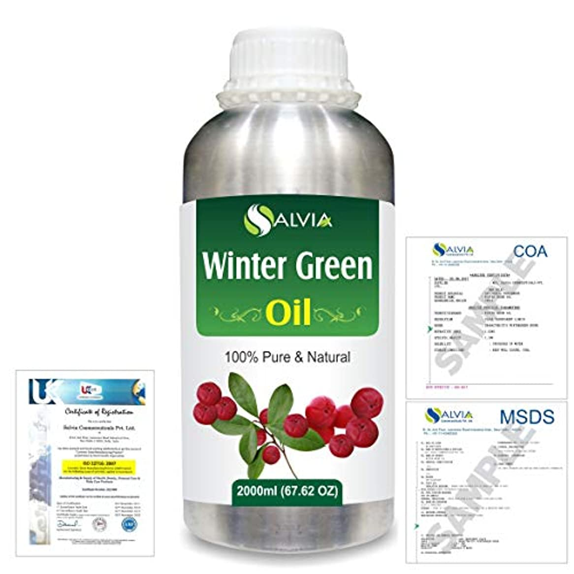 虐殺酒脅威Winter Green(Gaultheria Procumbens) 100% Natural Pure Essential Oil 2000ml/67 fl.oz.