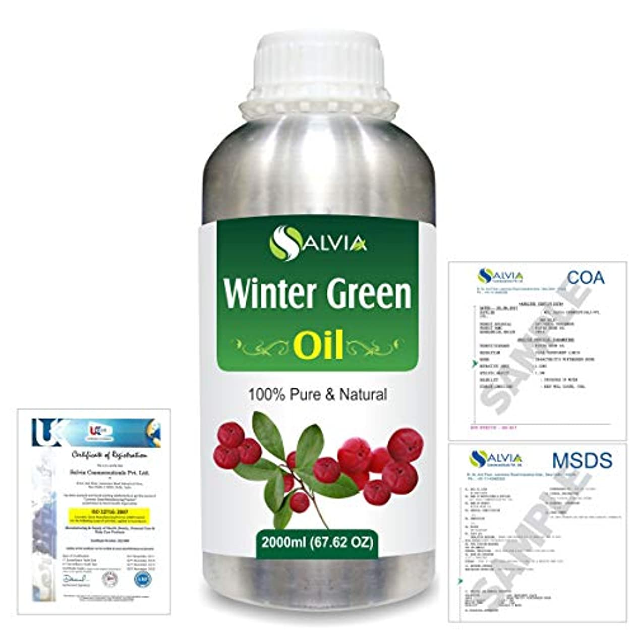 試験博物館設計図Winter Green(Gaultheria Procumbens) 100% Natural Pure Essential Oil 2000ml/67 fl.oz.