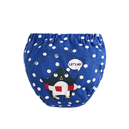 LILY CUPS イギリス風 トレーニングパンツ 中股4層 3枚組  可愛いパンツ (90cm, 青)