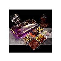 Yougou001 フルーツプレート、ドライフルーツフルーツプレート、ハイエンドスナックフルーツドライフルーツモダンミニマリストスタイル、3グリッド透明,絶妙で美しいデザインスタイル (Color : 9)