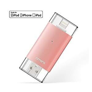 【Apple認証 (Made for iPhone取得)】 Omarsフラッシュドライブ 2 USBメモリコネクタ付きiPhone iPad iPod touchの容量不足解消  (64Gローズゴールド)