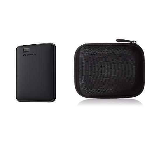 WD HDD ポータブルハードディスク 3TB WD Elements Portable WDBU6Y0030BBK-WESN USB3.0/2年保証 + Amazonベーシック ポータブルHDD キャリングケース セット