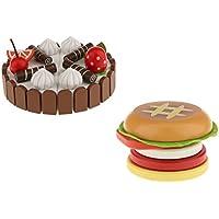 Perfk 誕生日ケーキ 木製玩具 食べ物モデル おもちゃの食品 子供向け 奇形 プレゼント ゲーム用 ハンバーガー