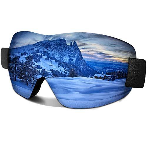 AYORI スキーゴーグル スノーゴーグル UV400カード 軽量スノボ 耐衝撃 防塵 防風 防雪 目が疲れにくい 登山 バイク アウトドア適用 男女兼用 (銀色)