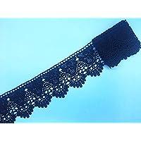 幅:9cm  弾力なし、花モチーフ付刺繍入りレース、アクセサリー         テーブル掛け、カーテン、ウェディングドレス、DIY、服装装飾(1バック2ヤード)に適用すること。 (黒色)