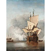The Cannon Shot Battle At Sea Illustration Large XL Wall Art Canvas Print 戦い図壁