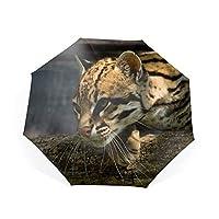 折りたたみ傘 自動開閉 折り畳み傘 8本骨 ワンタッチ オセロット動物 傘 かさ メンズ レディース 耐風傘 撥水性 丈夫 大きい 晴雨兼用 雨具