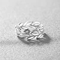 Encircled Leaves 925 Silver Open Ring Laurel Leaf Branch Adjustable Ring Jewelry