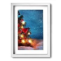 ホワイトサン 景色 クリスマスツリー フォトフレーム A4 フレーム 壁掛け 壁アート 装飾画 壁飾り インテリア 部屋飾り アート ファション 装飾 枠付き 壁絵 現代壁の絵 絵 プレゼント ポスター アートフレーム パネル