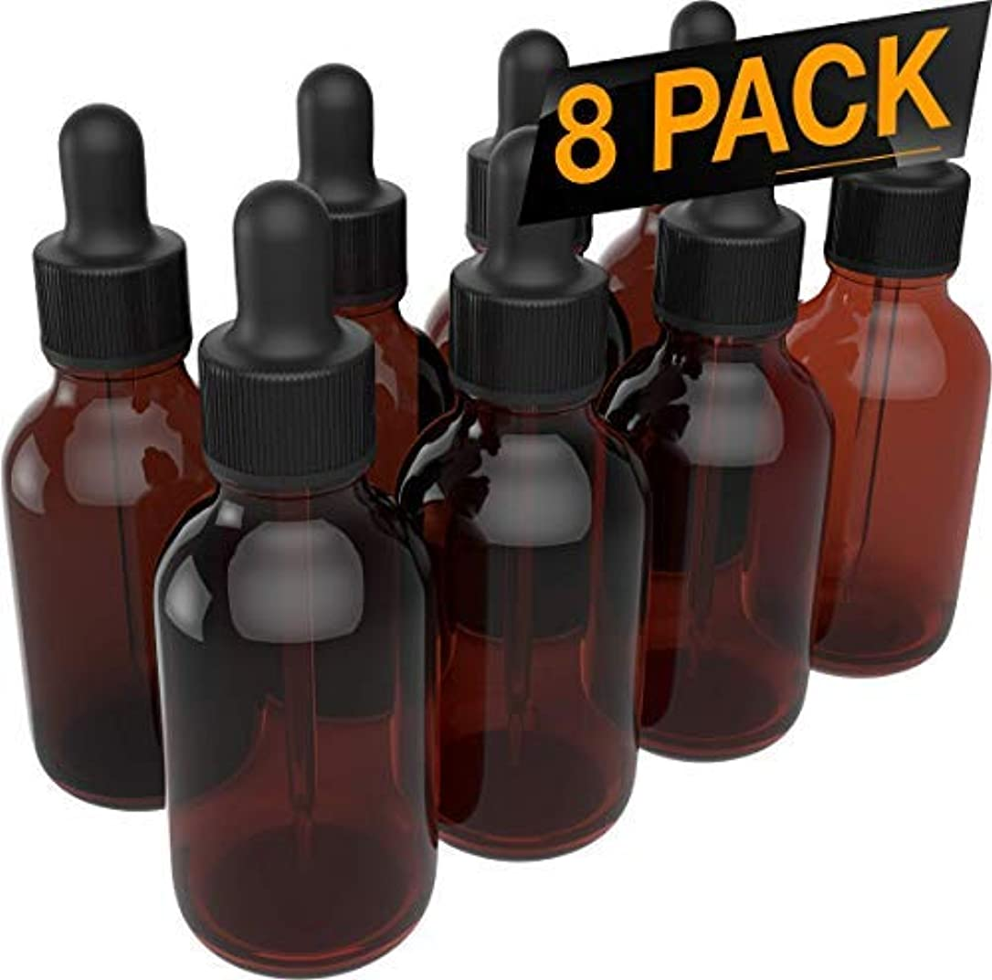 8 Pack Essential Oil Dropper Bottles - Round Boston Empty Refillable Amber Bottle with Glass Dropper for Liquid...