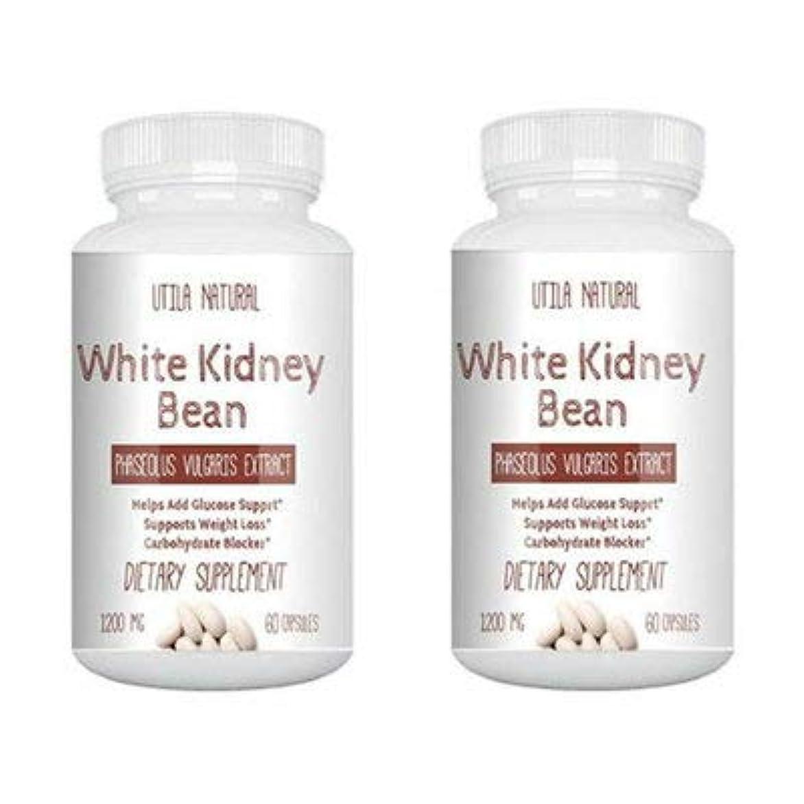 波提案する容器お得な2個セット!  白いんげん豆サプリ  ホワイトキドニービーン抽出液  600mg 60ベジタブルカプセル White Kidney Bean [並行輸入品]