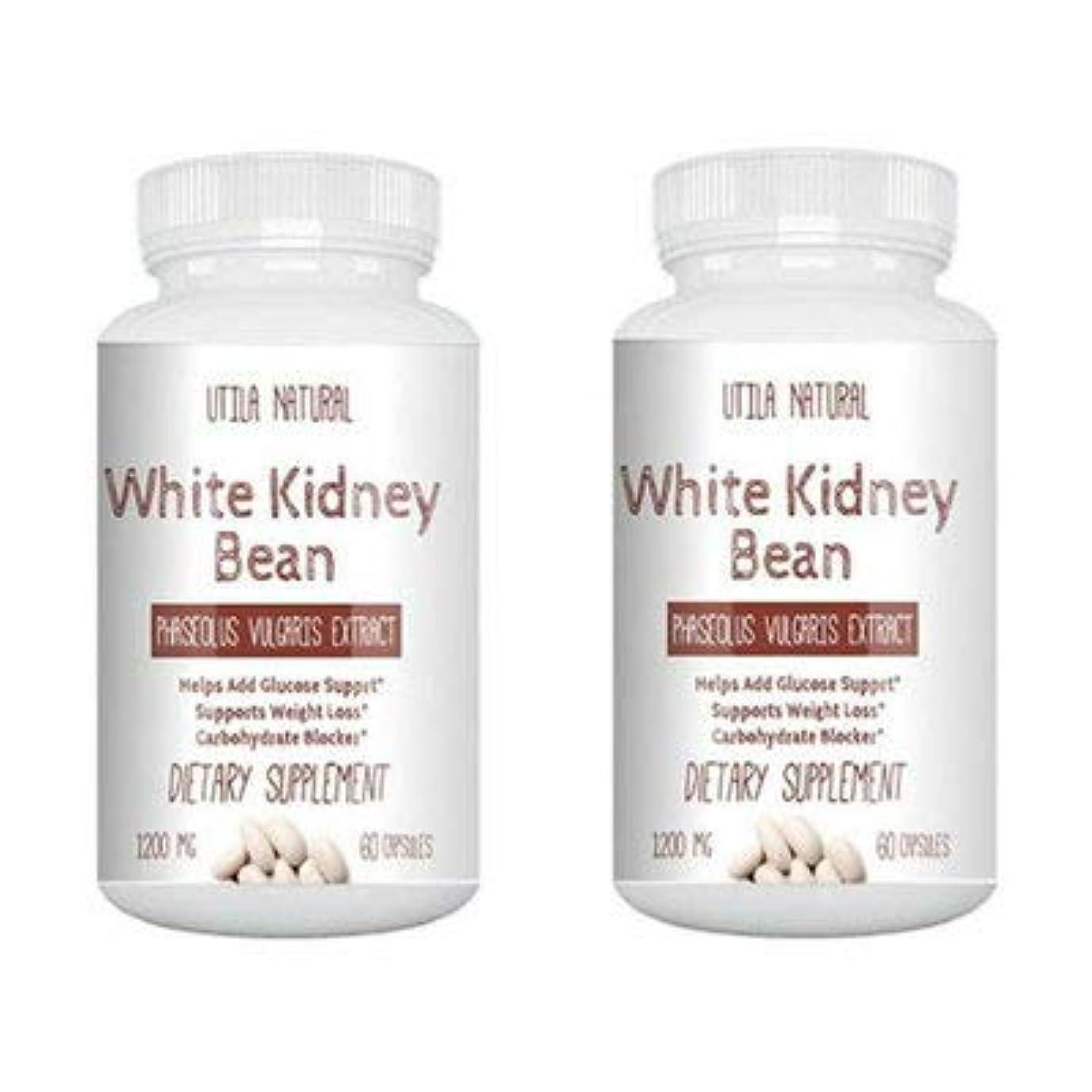 神経障害誤解しみお得な2個セット!  白いんげん豆サプリ  ホワイトキドニービーン抽出液  600mg 60ベジタブルカプセル White Kidney Bean [並行輸入品]