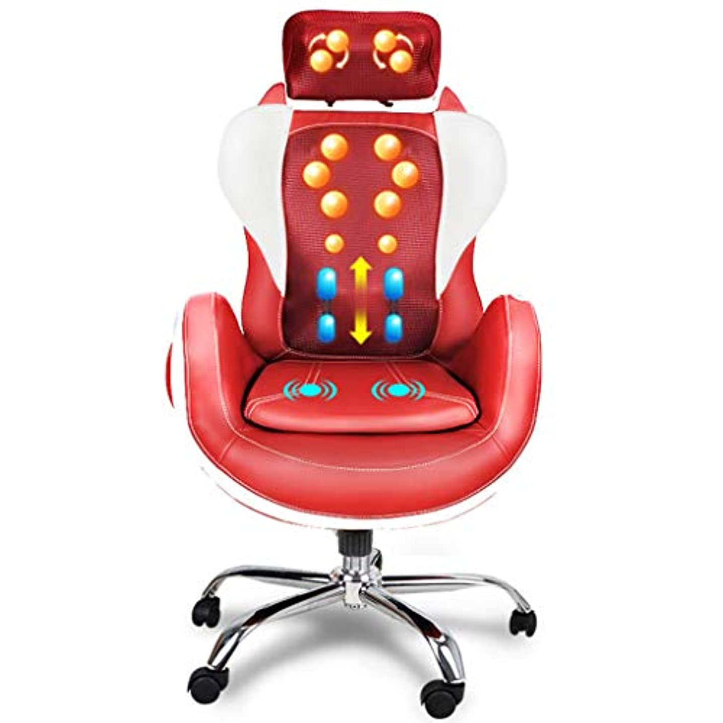 スラダム四面体シャベルフル 体 ケア 贅沢な 熱 オフィス Eletric マッサージ 椅子 体 マッサージ 椅子 コンピュータチェア 回転椅子 多機能 マッサージ器。 MAG.AL,Red