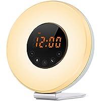 PowMax ウェイクアップライト 目覚まし時計 ベッドサイドランプ アラーム時計 大音量 7色変換 時間記憶 スヌーズ 日の出&日没再現12H/24H表示 常夜灯 FM ラジオ機能