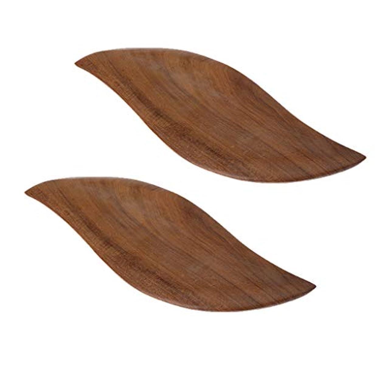 落ち込んでいる迷信研磨剤Baoblaze 2枚 かっさプレート フェイスケア ボディーケア リラックス ツボ押し 木製