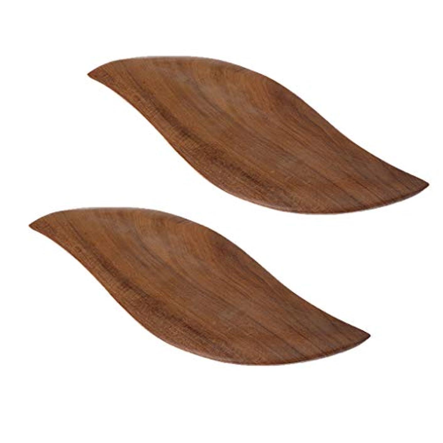 優先焦げ句Baoblaze 2枚 かっさプレート フェイスケア ボディーケア リラックス ツボ押し 木製