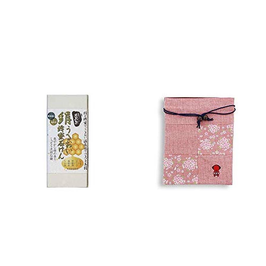 [2点セット] ひのき炭黒泉 絹うるおい蜂蜜石けん(75g×2)?おねがいさるぼぼ 巾着【ピンク】