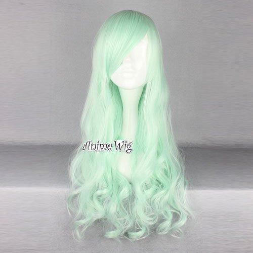 Cosplay Wig ライトグリーン 超自然感 ゆるふわ 巻き髪 ロング カール ウィッグ かつら コスチューム用小物