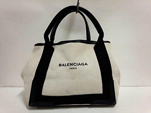 (バレンシアガ) BALENCIAGA トートバッグ ネイビーカバS 白×黒 339933 【中古】