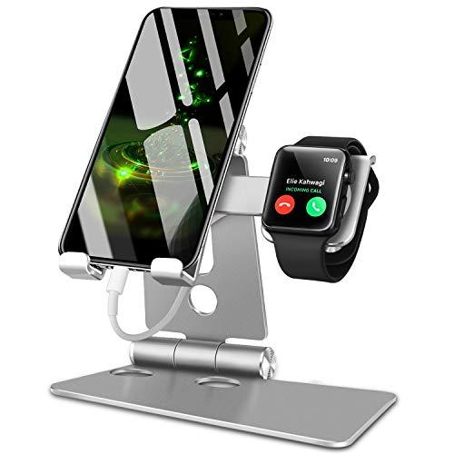 スマホ スタンド ホルダー 角度調整可能 折り畳み式 アップグレード版 FOGEEK apple watch iphone 充電スタンド;携帯電話スタンド;タブレット スタンド; Nintendo Switch 対応, アイフォン, iPhone XS XS Max XR X 8 7 7plus 6 6s 6plus 5 5s, Sony Xperia, Nexusに対応;アップルウォッチ スタンド (シルバー)