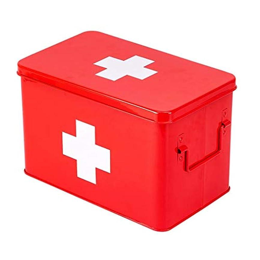 脚本家今晩モードリンNYDZDM 金属薬箱ホーム救急箱、家庭用医療キットスーツケース、子供緊急医療キット (Color : Red)