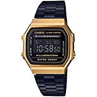 Casio A168WEGB-1B Black and Gold Steel Illuminator Vintage Watch